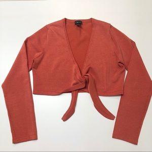 Salmon pink wrap knit bolero shrug